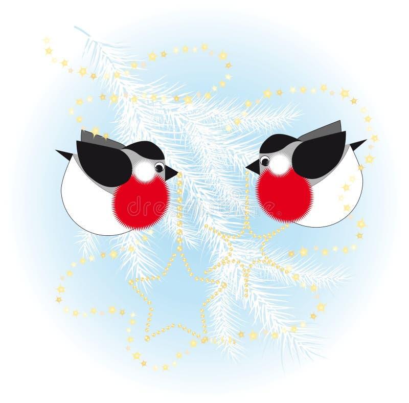 Le Bullfinch rectifient vers le haut un arbre de Noël illustration de vecteur