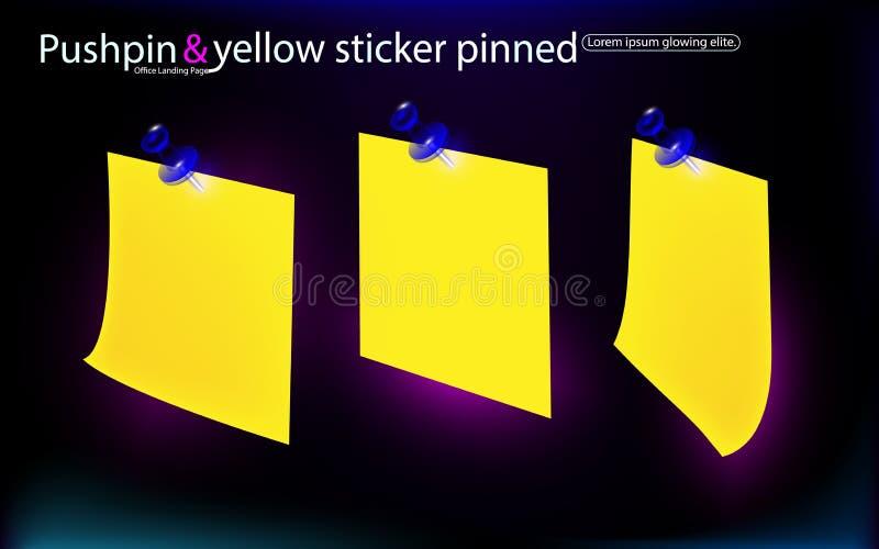 Le bureau a placé les autocollants jaunes, a goupillé les boutons poussoirs bleus avec le coin courbé, prêt pour votre message D' illustration libre de droits