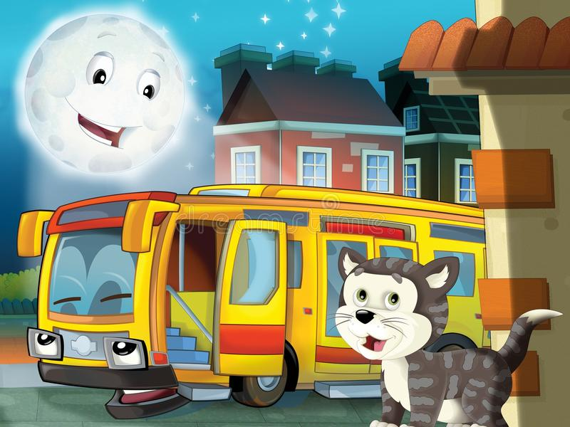 Le bus heureux de visage dans la ville illustration stock