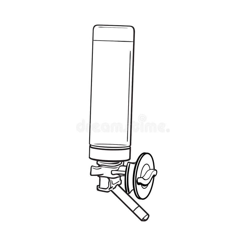 Le buveur rechargeable automatique, peut être attaché à la cage, mur de caisse illustration stock
