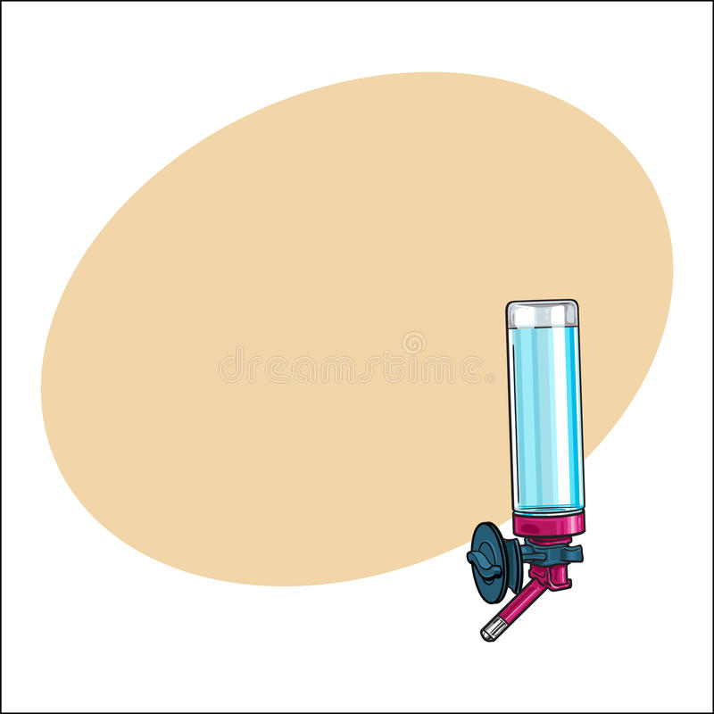 Le buveur rechargeable automatique, peut être attaché à la cage, mur de caisse illustration libre de droits