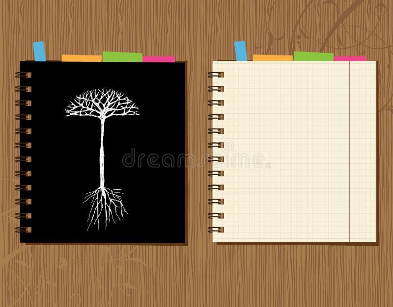 Le cache et la page de cahier conçoivent, fond en bois illustration stock
