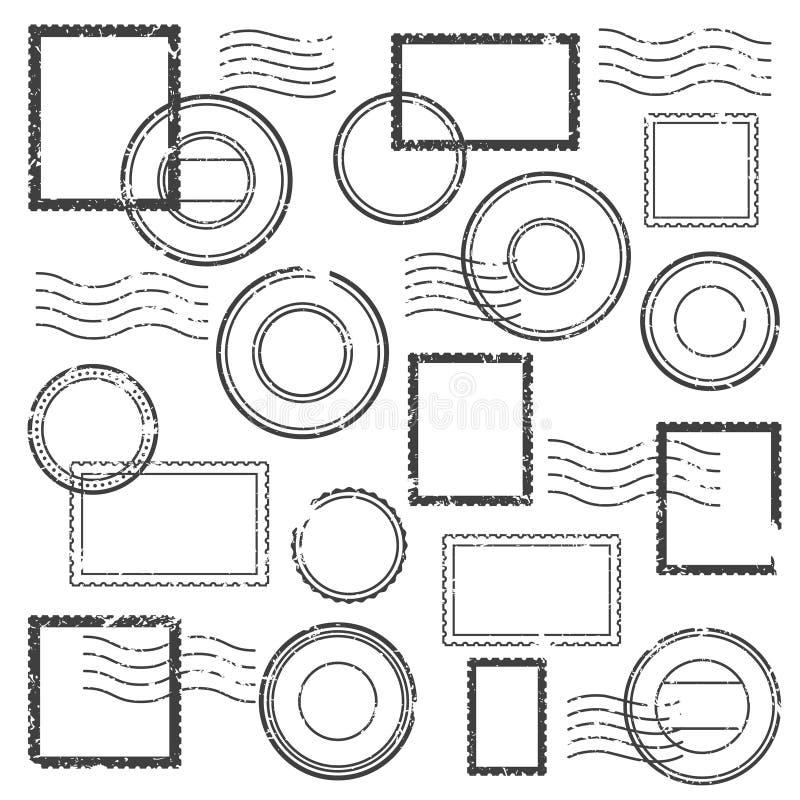 Le cachet de cachet de la poste de vintage, le filigrane postal, la marque de timbre de courrier et les timbres de voyage pour l' illustration libre de droits