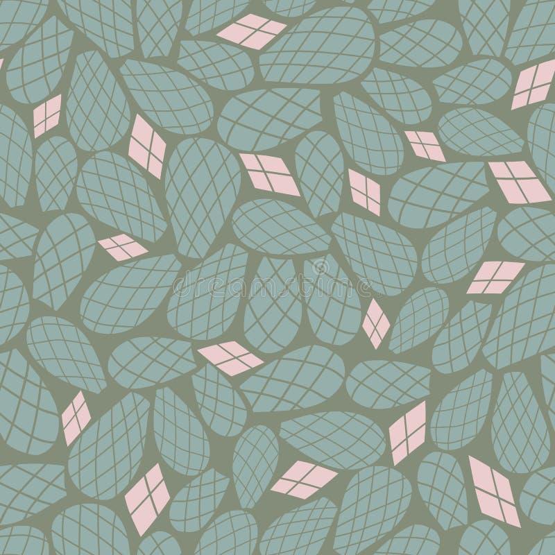 Le cactus rose vert part du modèle sans couture de vecteur de répétition illustration stock