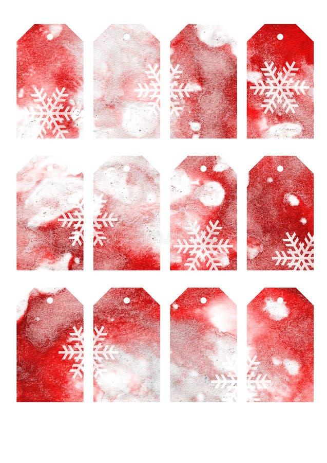 Le cadeau de couleur d'eau de Noël étiquette et des labels - Rouge de brique images libres de droits