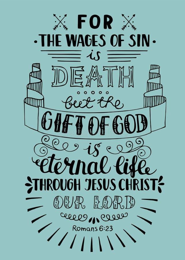Le cadeau de lettrage de main de Dieu est la vie éternelle illustration de vecteur