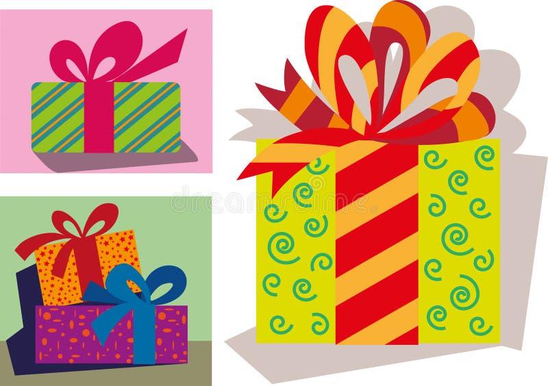 Le cadeau de Noël emballe complètement des cadeaux illustration libre de droits