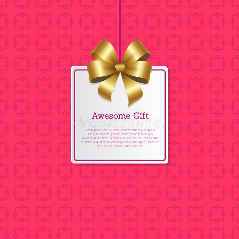 Le cadeau impressionnant se connectent la carte carrée avec l'arc d'or illustration stock