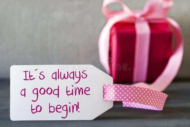 Le cadeau rose, label, citent le temps toujours bon commencent photos libres de droits