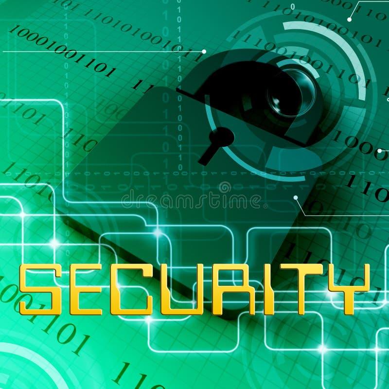 Le cadenas de données de sécurité montre le rendu de la protection de dossiers 3d illustration de vecteur
