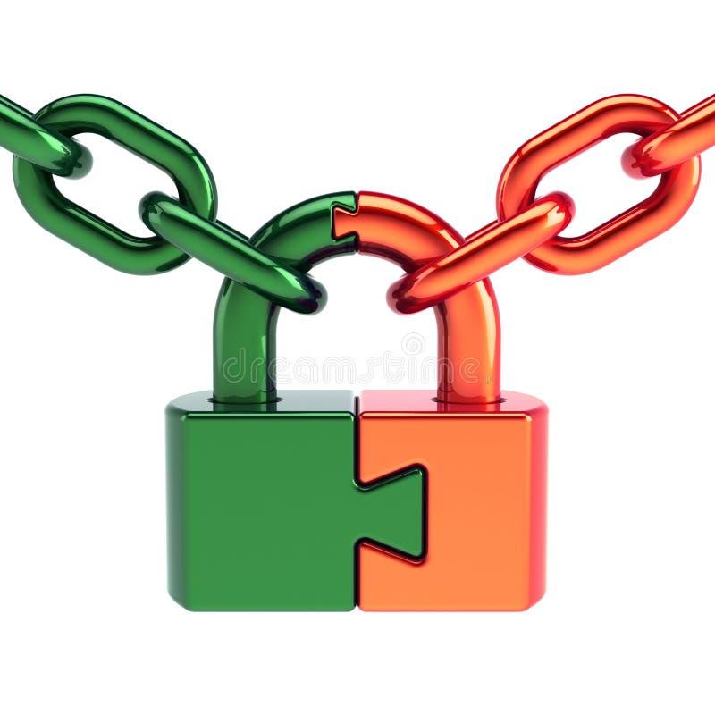 Le cadenas de serrure de puzzle de concept s'est fermé avec les pièces oranges de vert de chaîne illustration de vecteur