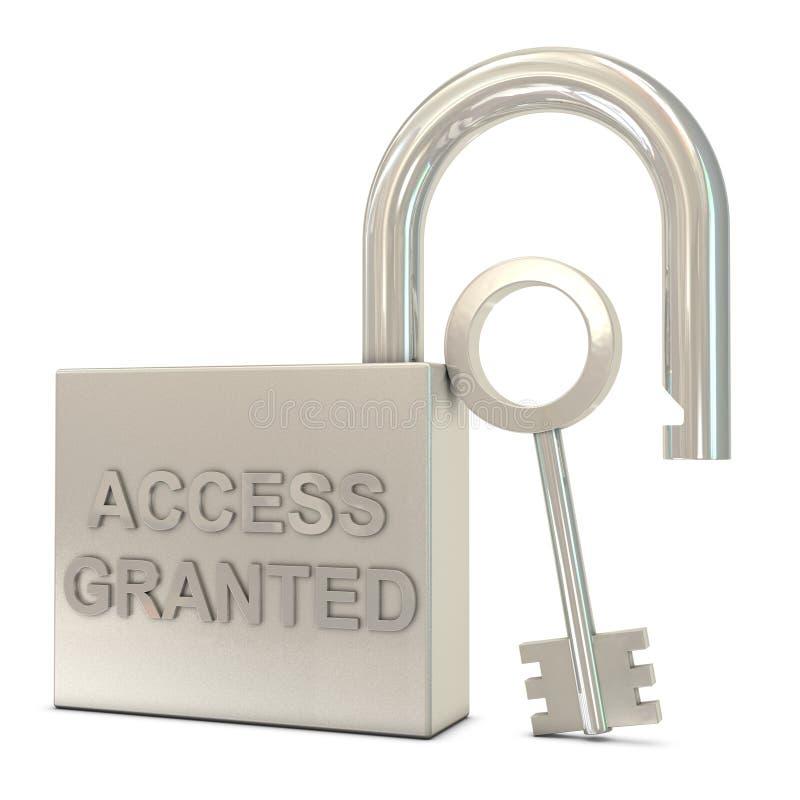 Le cadenas ouvert, la clé et l'accès ont accordé le texte illustration de vecteur