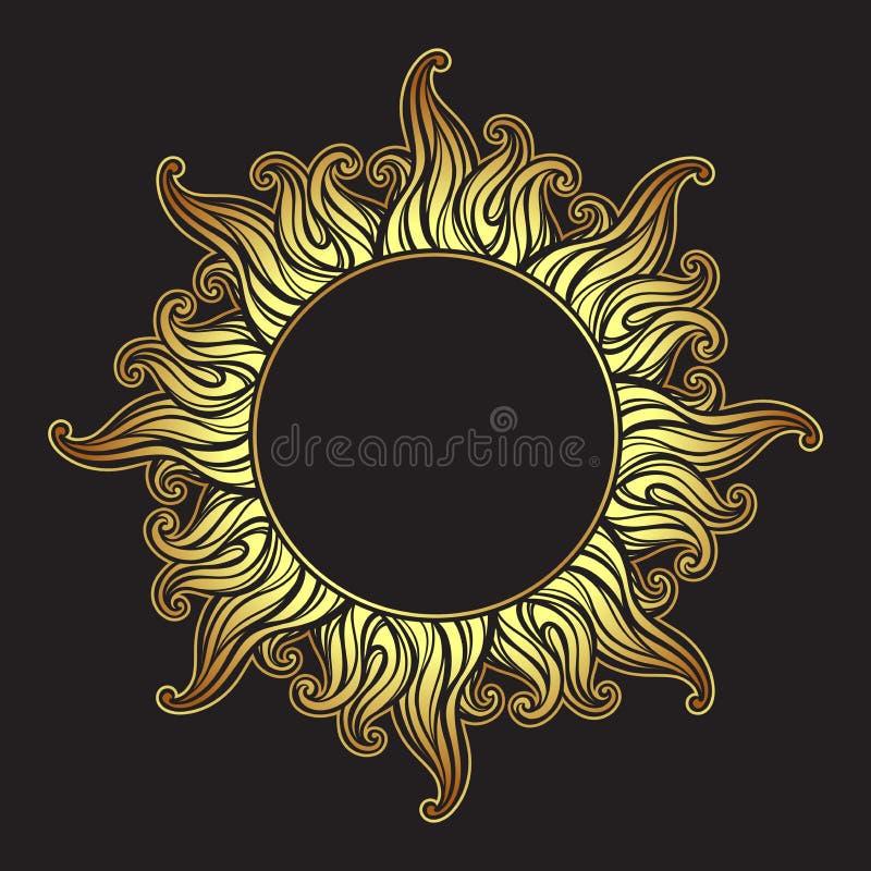 Le cadre antique fleuri de style gravure à l'eau-forte d'or dans une forme du soleil rayonne l'illustration tirée par la main de  illustration libre de droits