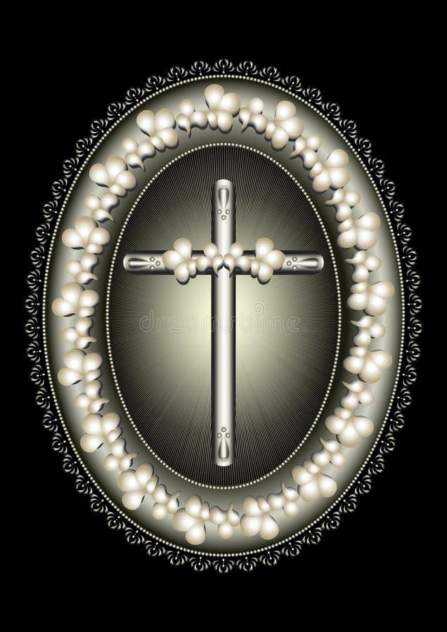 Le cadre argenté ovale avec la croix a encadré la frontière de dentelle illustration de vecteur