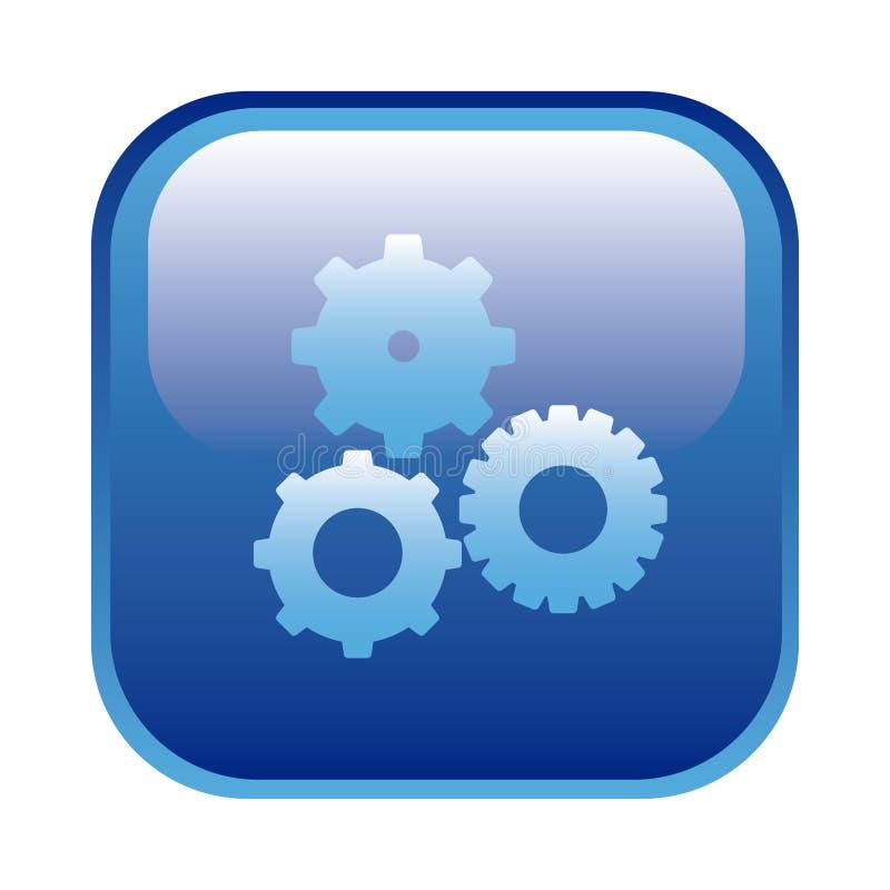 le cadre carré bleu avec des pignons a placé l'icône illustration stock