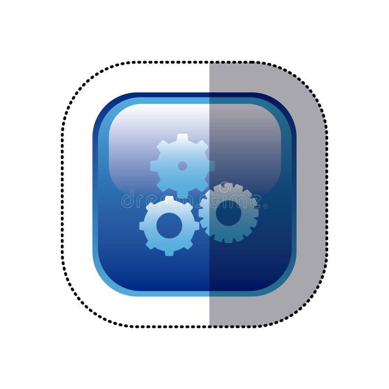 le cadre carré bleu d'autocollant avec des pignons a placé l'icône illustration de vecteur