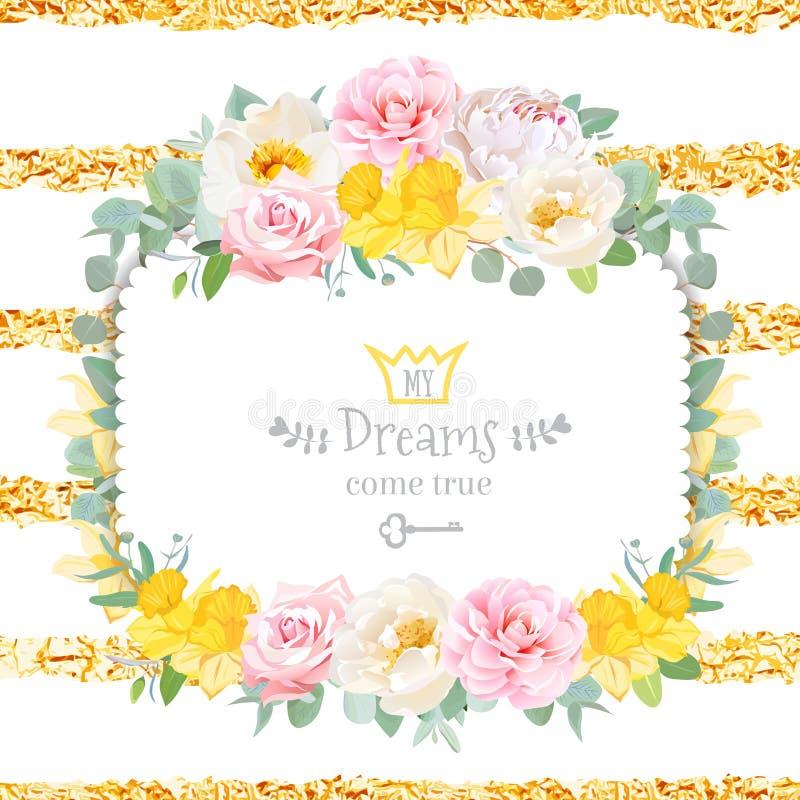 Le cadre carré floral mignon de conception de vecteur avec sauvage a monté, narcisse illustration libre de droits