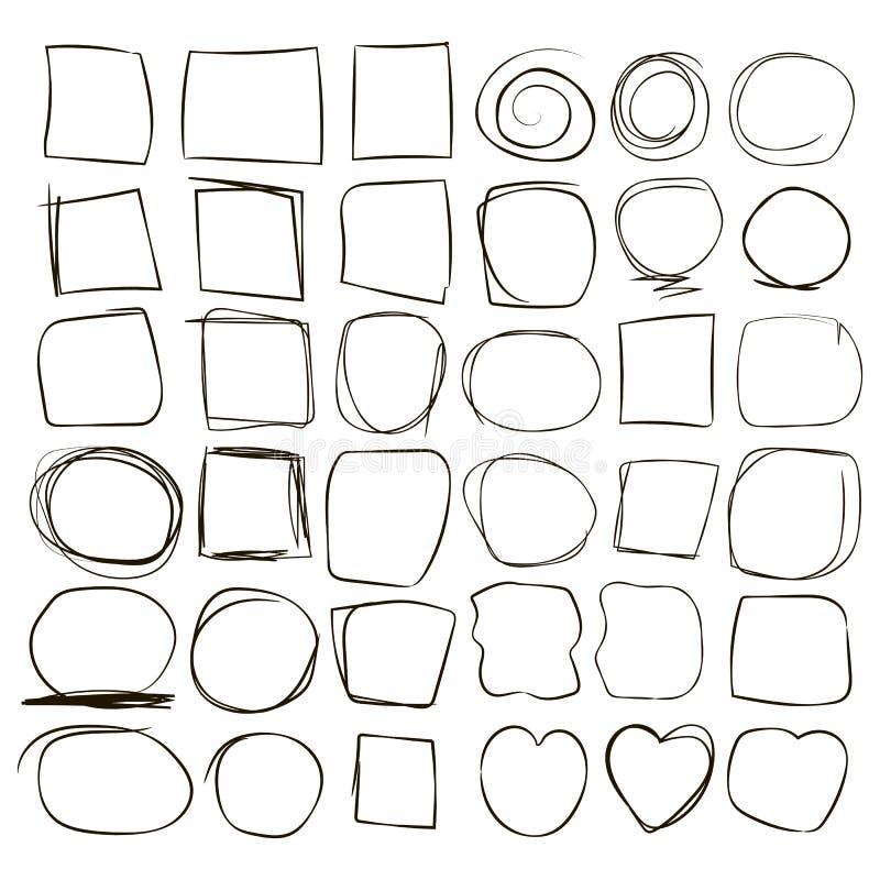 Le cadre cassé onduleux de zigzag frotte des places d'ensemble de la ligne de photo de cercle de coeur du vecteur à l'encre noire illustration libre de droits