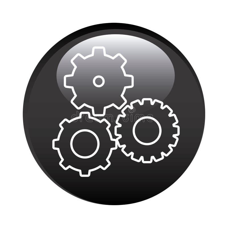 le cadre circulaire noir avec des pignons a placé l'icône illustration libre de droits