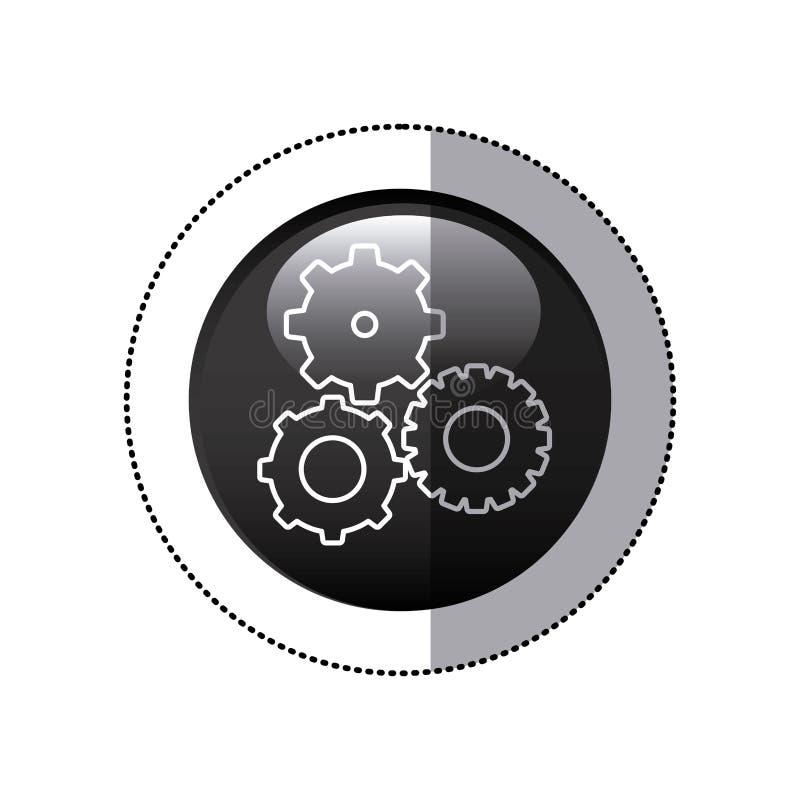 le cadre circulaire noir d'autocollant avec des pignons a placé l'icône illustration de vecteur