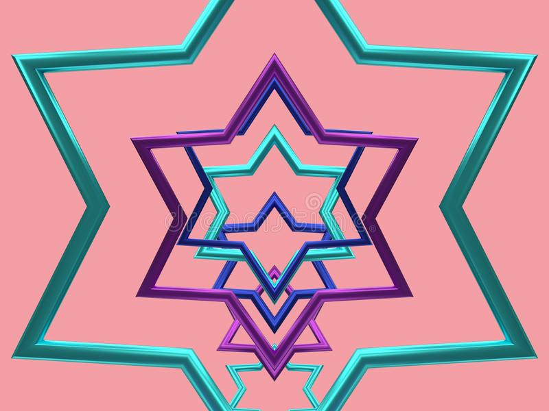 Le cadre 3d métallique de forme d'étoile rendent illustration de vecteur