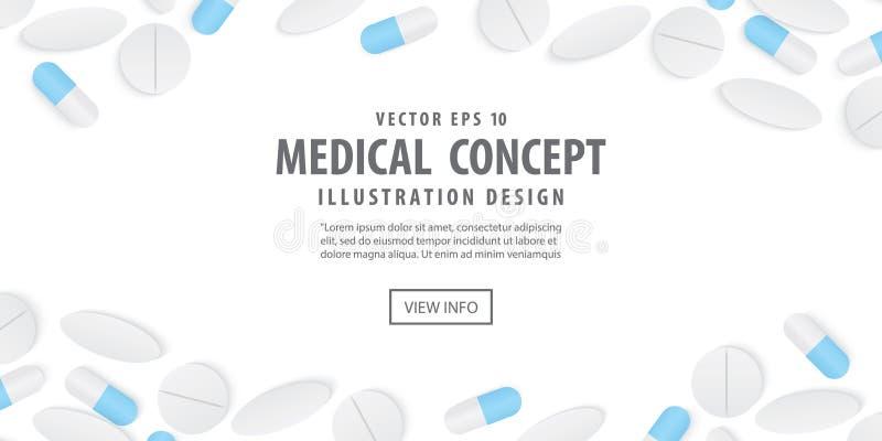 Le cadre de bannière capsule l'illustration de vue supérieure de médecine et de pilules illustration stock