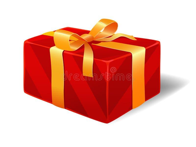 Le cadre de cadeau rayé rouge avec la bande et le noeud cintrent illustration libre de droits