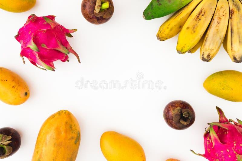 Le cadre de fruits a fait de la banane, de la papaye, de la mangue avec le mangoustan et des fruits du dragon sur le fond blanc C photo stock