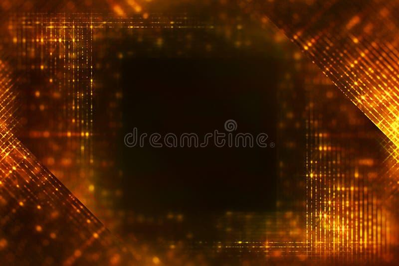 Le cadre de noël glitter numérique étincelle des particules d'or des bandes verticales qui s'écoulent sur fond noir, événement de image stock
