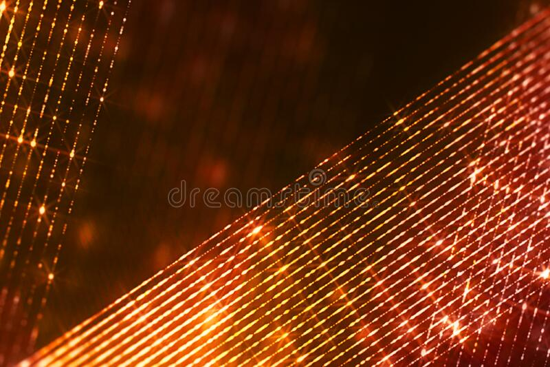 Le cadre de noël scintillant numérique étincelle des particules d'or des bandes obliques qui s'écoulent sur fond noir, événement  photographie stock libre de droits