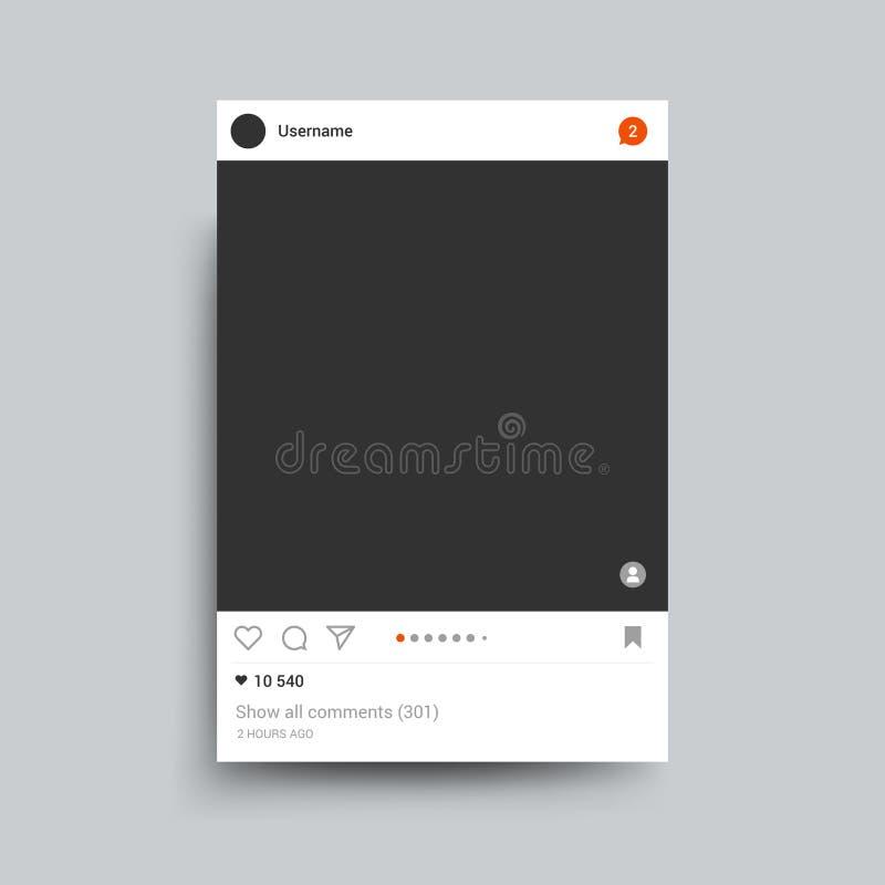 Le cadre de photo a inspiré par l'instagram pour partager d'Internet d'amis Descripteur de vecteur illustration de vecteur