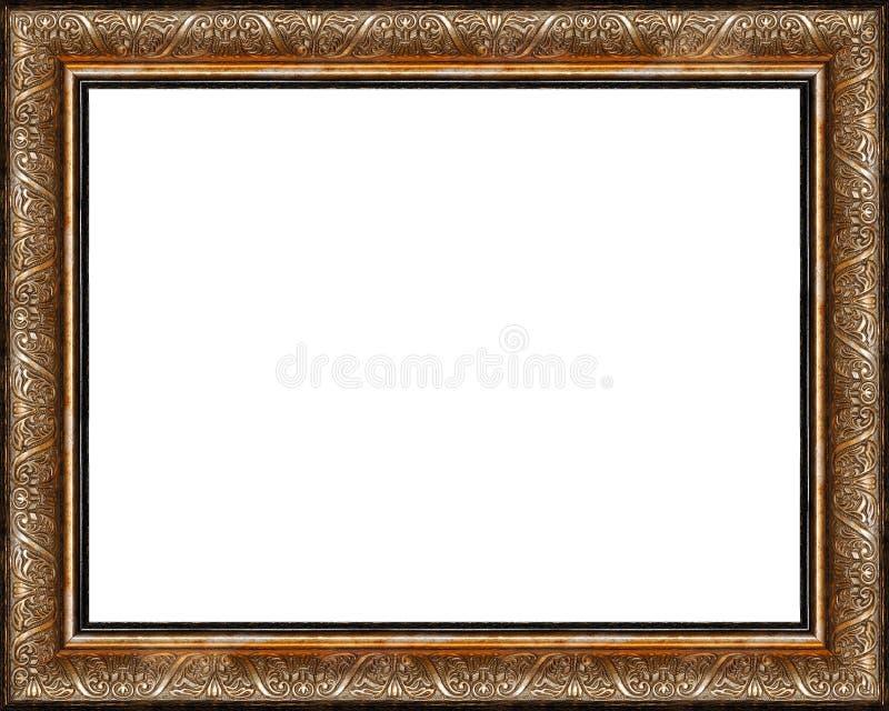 Le cadre de tableau d'or foncé rustique antique a isolé image libre de droits
