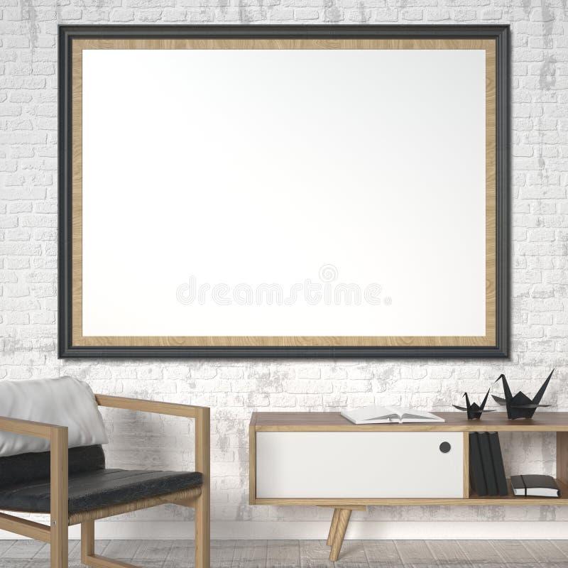 Le cadre de tableau vide avec le fauteuil en cuir et l'origami tendent le cou Moquerie vers le haut d'affiche 3d illustration stock