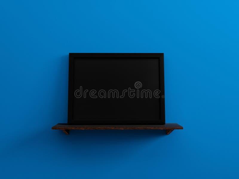 Le cadre de tableau vide noir sur un mur bleu 3d d'étagère en bois rendent illustration libre de droits