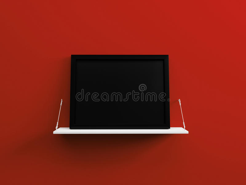 Le cadre de tableau vide noir sur un mur rouge 3d d'étagère blanche rendent illustration stock