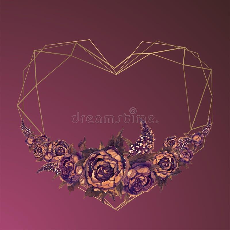 Le cadre est le coeur des fleurs d'aquarelle Valentine, ?pousant l'invitation bourgogne illustration stock
