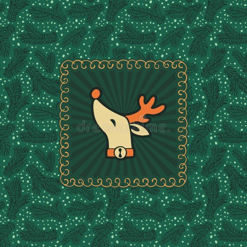 Le cadre fleuri de vintage de Noël et de nouvelle année avec des cerfs communs de Santa dirigent le symbole illustration libre de droits