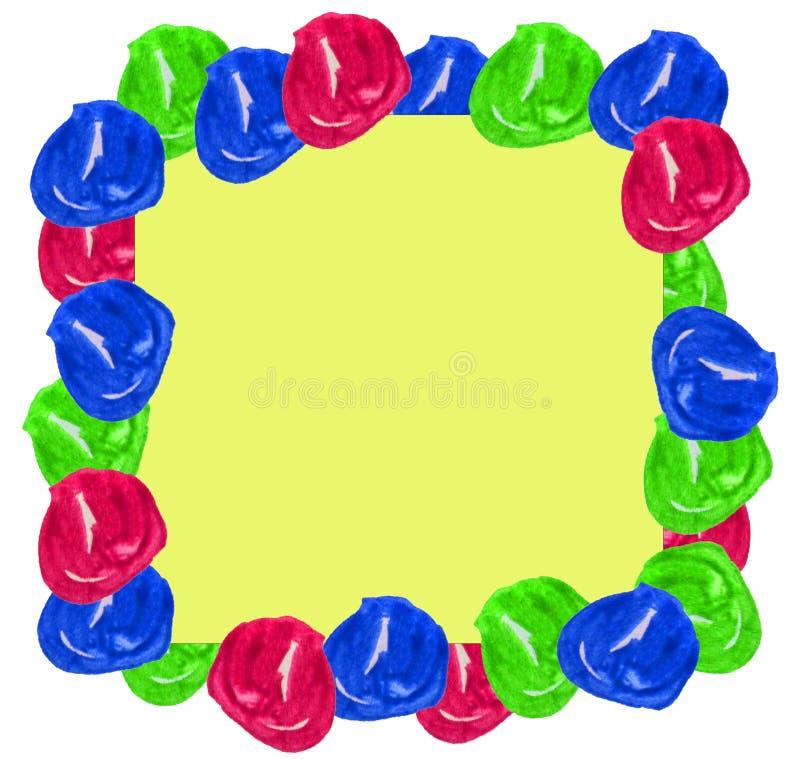 Le cadre mignon d'aquarelle a placé les perles tirées par la main colorées d'isolement autour des taches sur le fond blanc pour l illustration de vecteur