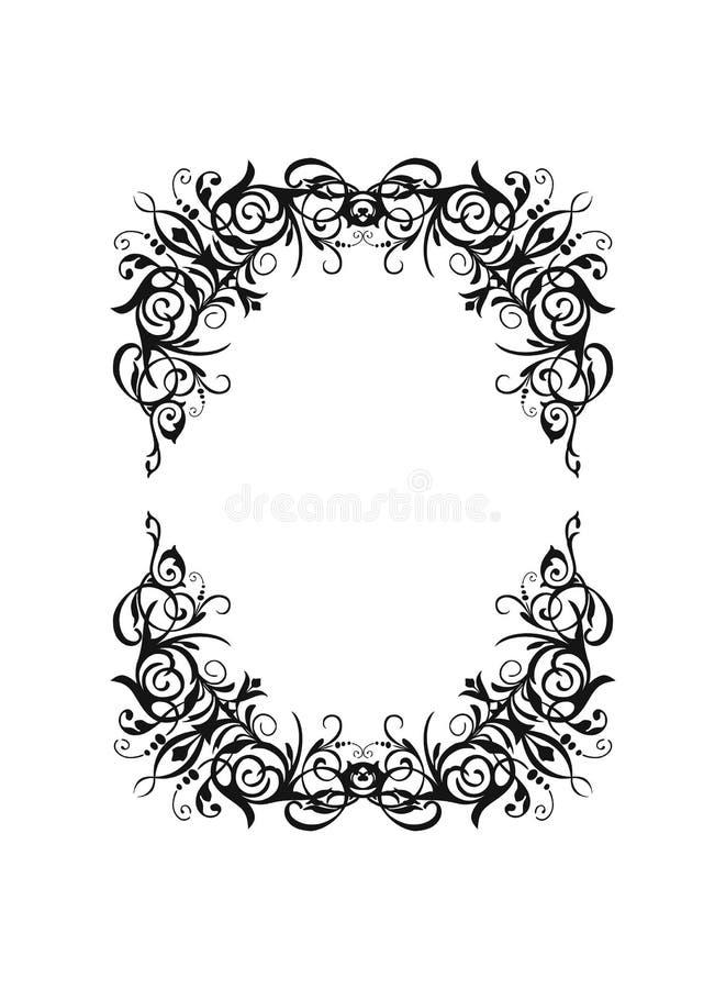 Le cadre ovale de rectangle de noir de cru de silhouette de vecteur avec r?tro s'?panouissent l'ornement baroque illustration stock