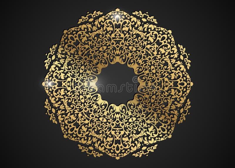 Le cadre rond décoratif d'or pour la conception avec le laser a coupé l'ornement Mandala d'or de luxe de cercle Un calibre pour i illustration stock