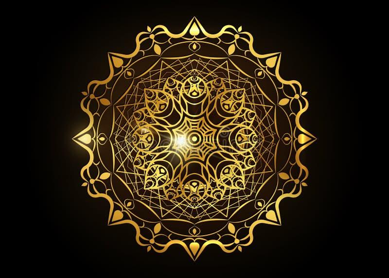 Le cadre rond d?coratif d'or pour la conception avec le laser a coup? l'ornement Mandala d'or de luxe de cercle Un calibre pour i illustration stock