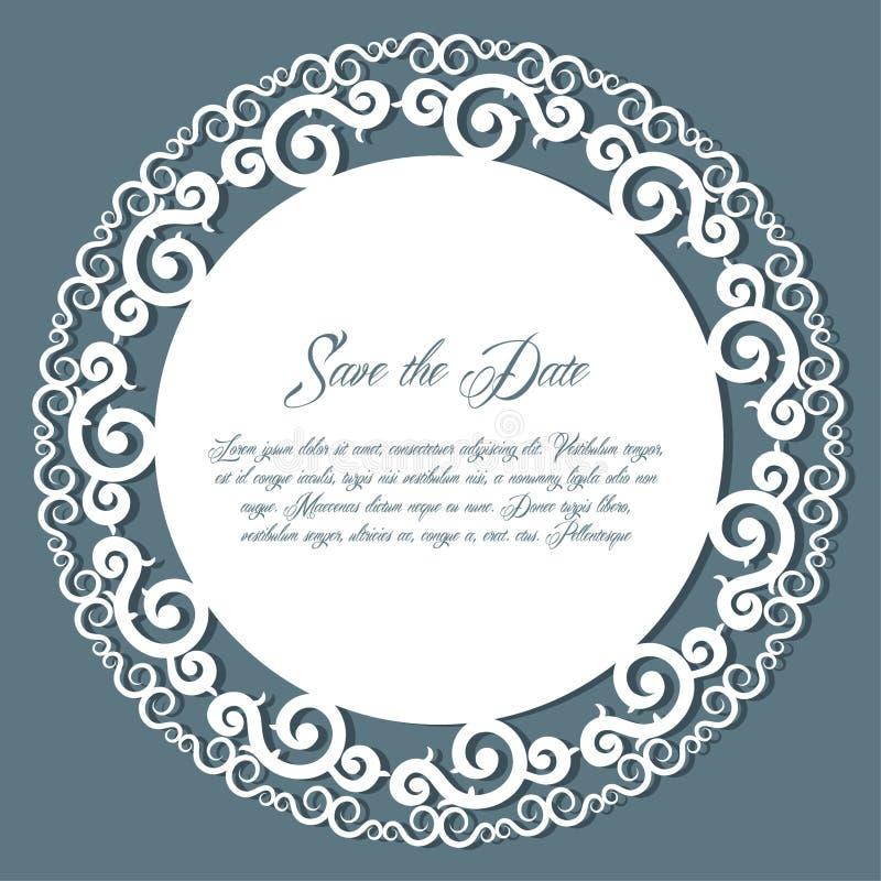 Le cadre rond de papier de coupe-circuit, laser a coupé le napperon de dentelle, vecto de carte de mariage illustration stock