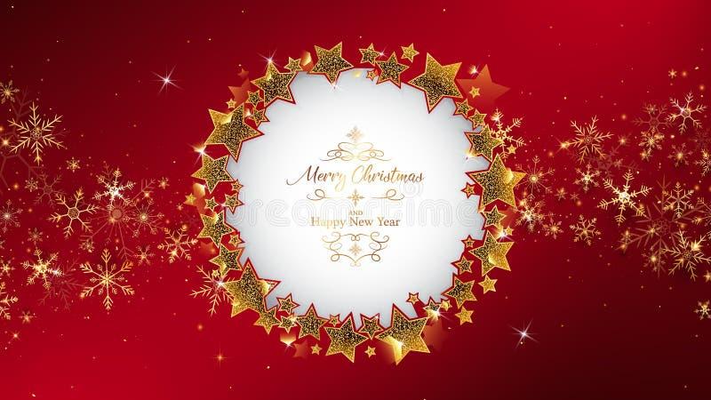 Le cadre rouge de fond de Noël arrondissant par scintillement se tient le premier rôle illustration stock
