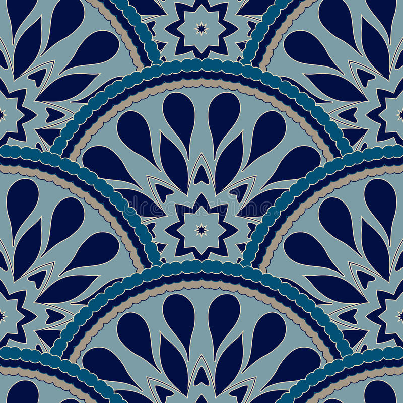 Le cadre sans couture de modèle de patchwork de la tuile florale colorée à la mode de fleur entoure Pour des textures de surface  illustration libre de droits