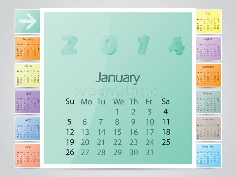 Le cadre simple aiment le calendrier de la couleur 2014 illustration de vecteur