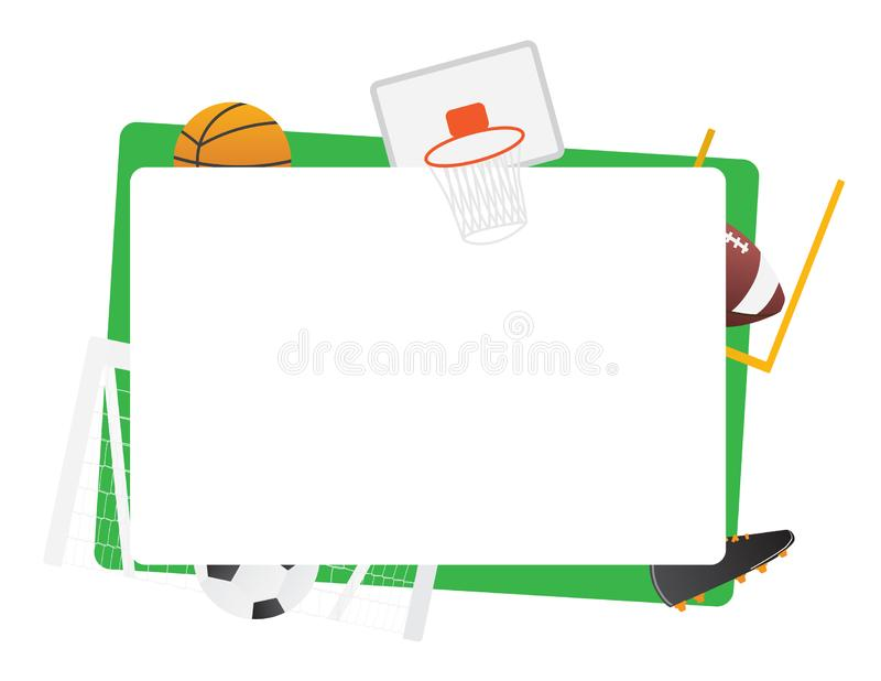 Le cadre vert de sports collectifs a isolé le basket-ball, le football, basket-ball illustration libre de droits