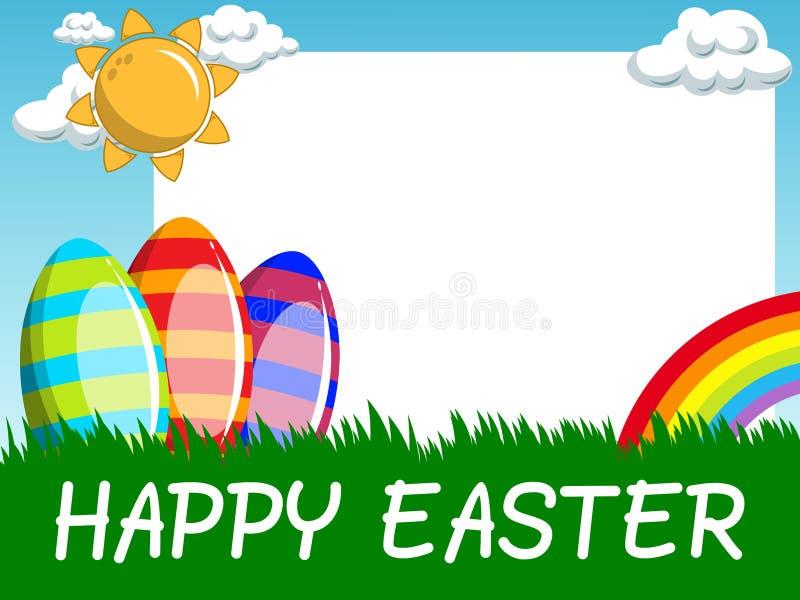 Le cadre vide horizontal heureux de Pâques a décoré des oeufs dans le pré illustration stock
