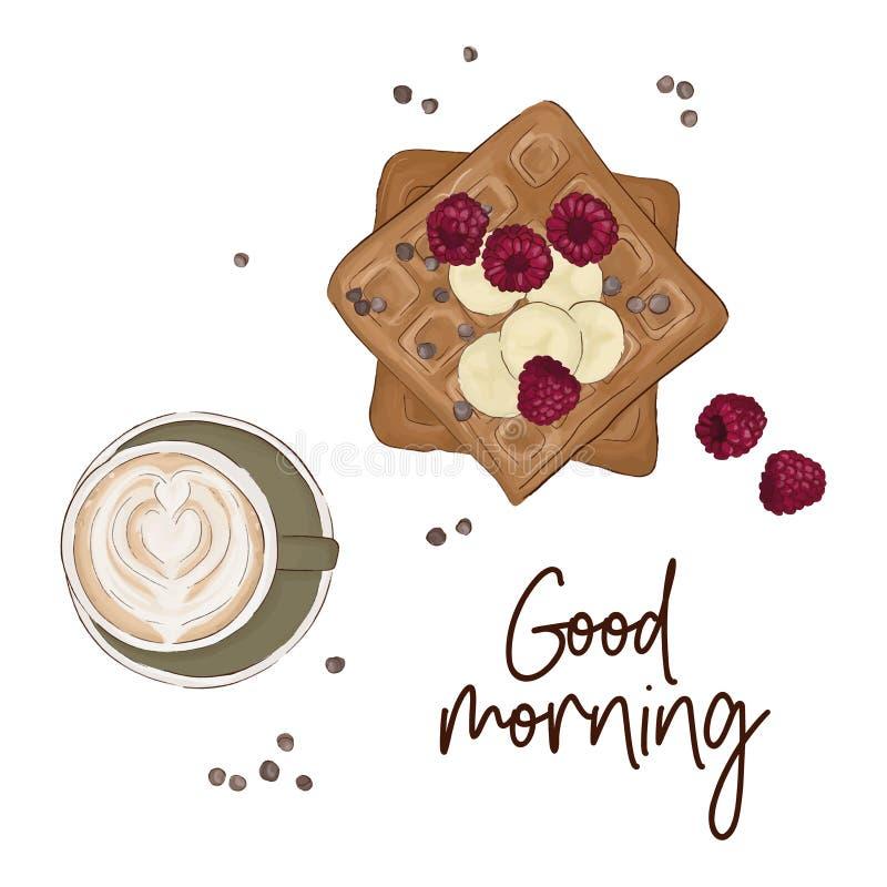 Le café avec les gaufres belges et les fruits dirigent l'illustration Citation bonjour Croquis de nourriture de petit déjeuner Re illustration libre de droits