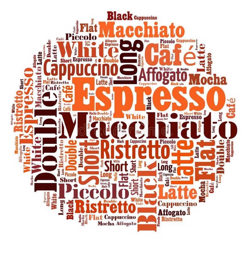 Le café boit le collage de nuage de mots illustration libre de droits