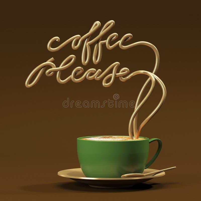 Le café citent svp avec la tasse, rendu de l'affiche 3D de typographie illustration de vecteur
